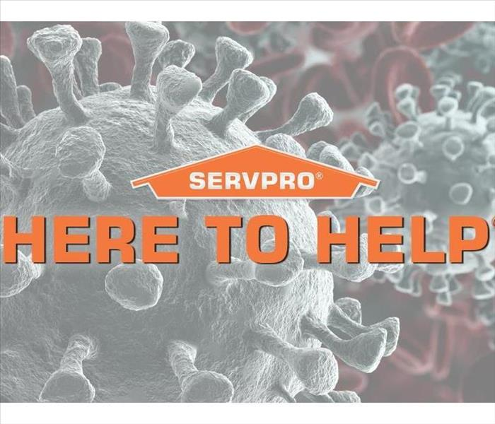 The SERVPRO Logo over top a background of the Coronavirus